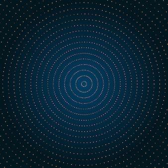 Abstracte cirkel gouden stippen blauwe achtergrond.
