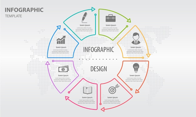 Abstracte cirkel infographic 8 opties
