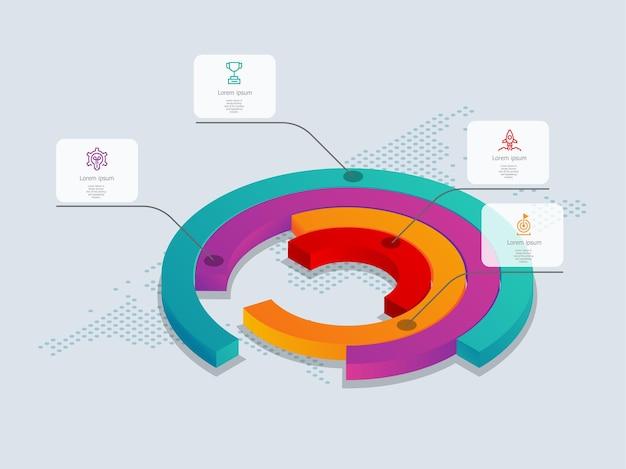 Abstracte cirkel isometrische tijdlijn infographics 4 stappen