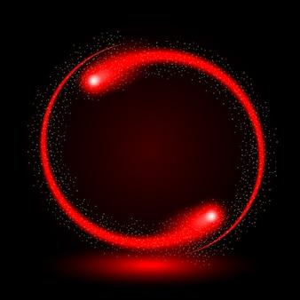 Abstracte cirkel licht rood frame vector achtergrond