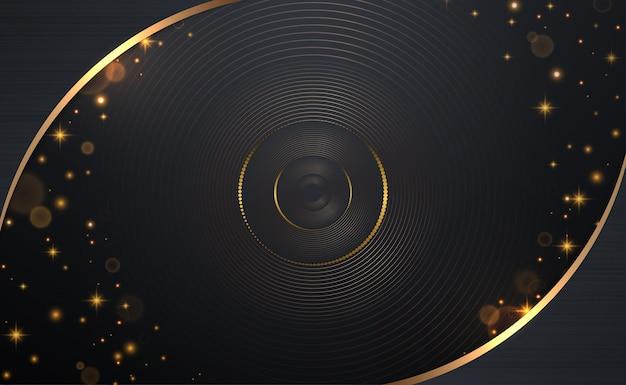 Abstracte cirkel lijnen patroon en gouden glitters met kromme frame op donkere achtergrond