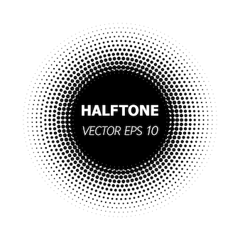 Abstracte cirkel zwarte halftone op witte achtergrond.