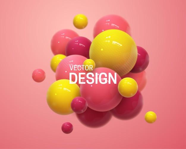 Abstracte compositie met 3d-veelkleurige bollen cluster