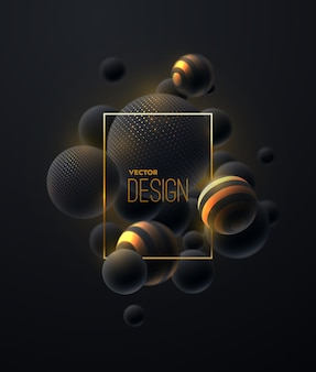Abstracte compositie met zwarte en gouden bubbels cluster