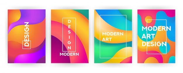 Abstracte cover set vloeiend golvend ontwerp met vloeistoffen en vormen
