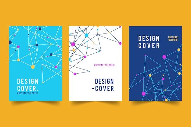 Abstracte covers met lijnen en stippen collectie