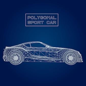 Abstracte creatief concept vector achtergrond van 3d automodel. sportwagen.