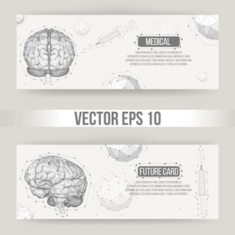 Abstracte creatief concept vector achtergrond van het menselijk brein. veelhoekig briefhoofd en brochure in ontwerpstijl voor bedrijven. vector illustratie eps 10 voor uw ontwerp.