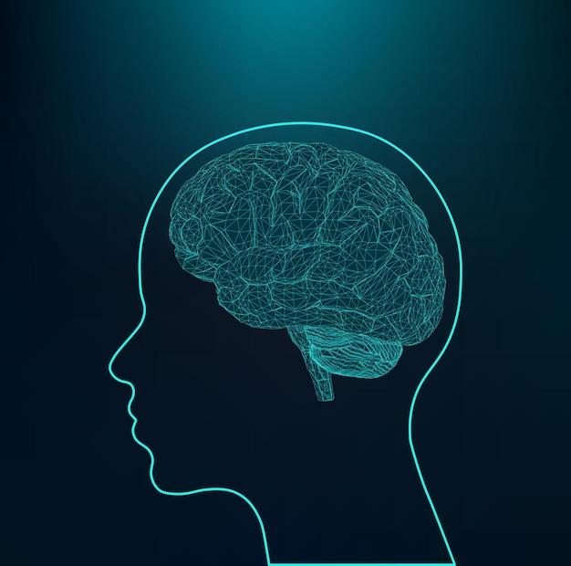 Abstracte creatief concept vector achtergrond van het menselijk brein veelhoekige ontwerpstijl