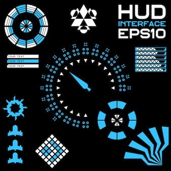 Abstracte creatief concept vector futuristische blauwe virtuele grafische touch gebruikersinterface hud