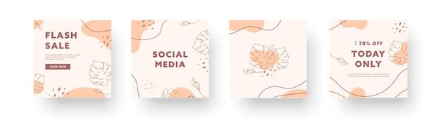 Abstracte creatieve achtergronden collecties. set minimale trendy ontwerpsjablonen voor zakelijke sociale media-verhalen met schattige elementen. vector illustratie.
