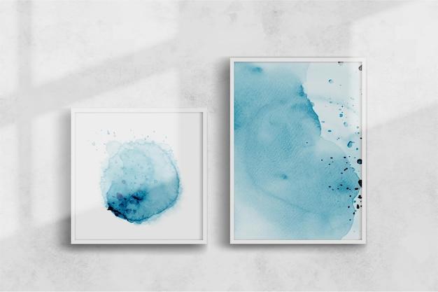 Abstracte creatieve blauwe aquarel handgeschilderde illustratie set. gepresenteerd op een muur met doorlopende schaduw, perfect voor het ontwerpen van wanddecoraties