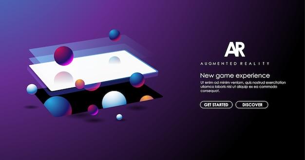 Abstracte creatieve illustratie met augmented reality-telefoon, illustratie voor bestemmingspagina. ar-concept voor web en app.