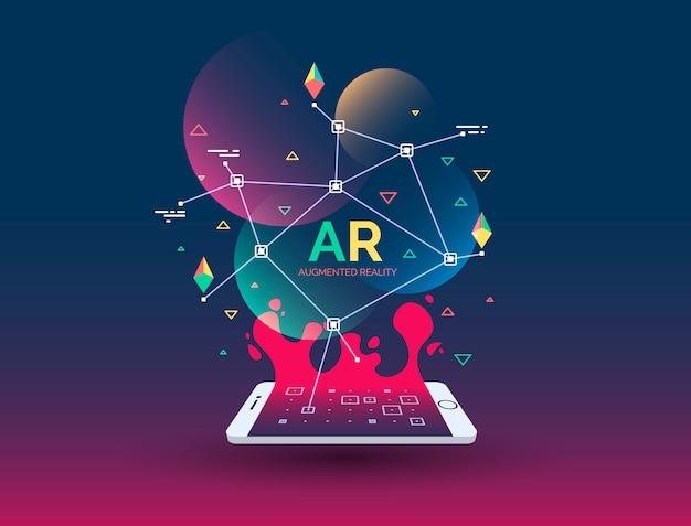Abstracte creatieve illustratie met augmented reality-telefoon, vectorillustratie
