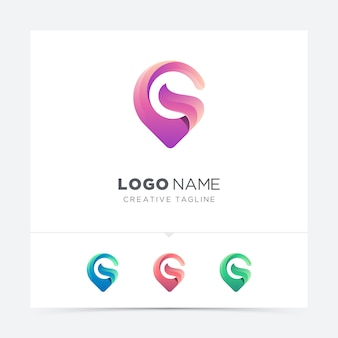 Abstracte creatieve kaart pin letter g logo variatie