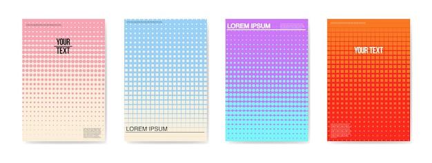Abstracte creatieve kaarten borden posters set. trendy halftone gradient design voor banners, cover, uitnodiging. hipsterbrochure, flyer, bijsluiter. vector illustratie