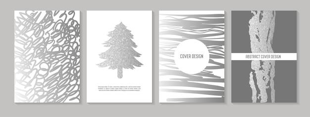 Abstracte creatieve kaarten posters set. trendy hand getrokken ontwerp voor banners, kaart, plakkaat, uitnodiging. hipsterbrochure, flyer, bijsluiter. vector illustratie
