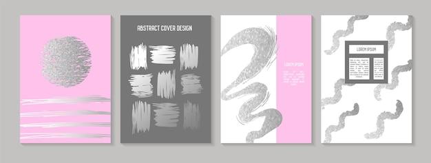 Abstracte creatieve kaarten posters set. trendy hand getrokken ontwerp voor banners, kaart, plakkaat, uitnodiging. hipsterbrochure, flyer, bijsluiter. vector illustratie Premium Vector
