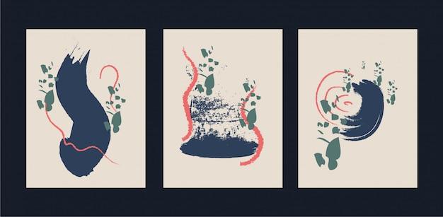 Abstracte creatieve minimalistische handgeschilderde illustratie voor wanddecoratie