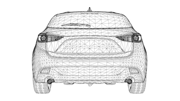 Abstracte creatieve vector 3d sportwagen lijnen aangesloten op punten.