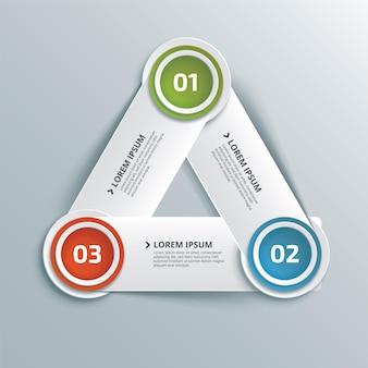 Abstracte creatieve zakelijke infographic met driehoek van drie stappen