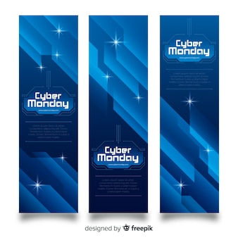 Abstracte cyber maandag banner set