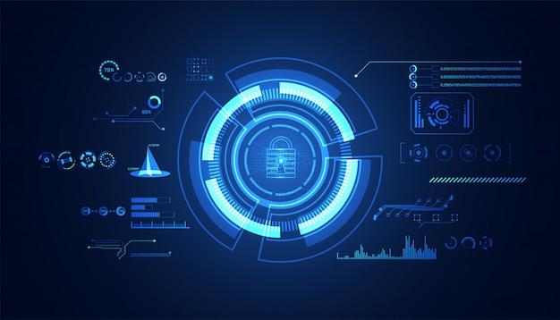 Abstracte cyberbeveiliging met pictogram van de hangslot het blauwe hud interface