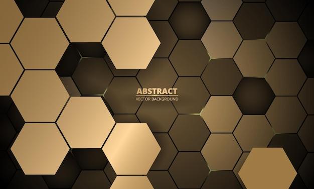 Abstracte d zeshoekige gouden luxe vector background