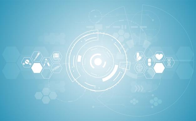 Abstracte de gezondheidszorg van de gezondheidsmedische wetenschap digitale technologie als achtergrond