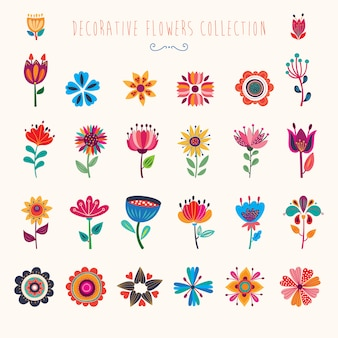 Abstracte decoratieve collectie van geïsoleerde kleurrijke bloemen