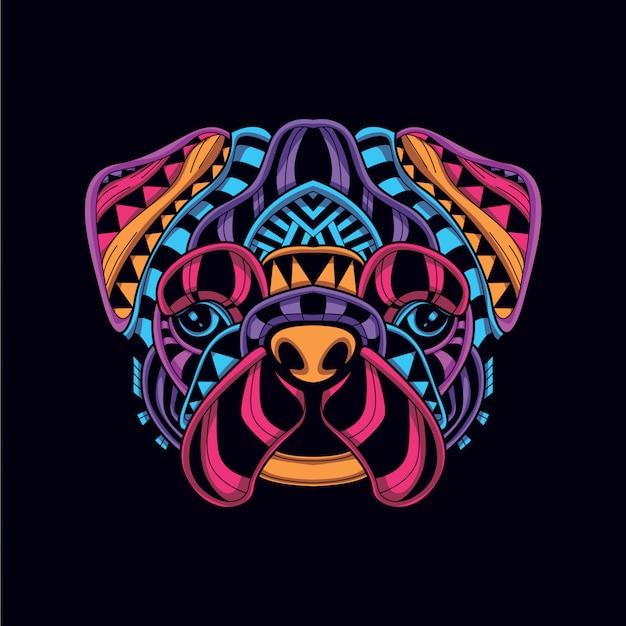Abstracte decoratieve hond in gloed neon kleur