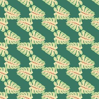 Abstracte decoratieve naadloze patroon met jungle monstera sieraad. turkoois achtergrond. decoratieve achtergrond voor stofontwerp, textieldruk, inwikkeling, omslag. vector illustratie.