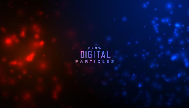 Abstracte deeltjes gloeiende achtergrond in rode en blauwe kleuren
