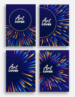 Abstracte dekking achtergrondillustratie van lichtstraalzoom met kleurrijk als veergolven