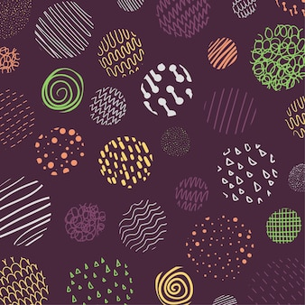 Abstracte dekking van het ontwerp van het cirkelspatroon van kleurrijk krabbelgolvend stijlpatroon