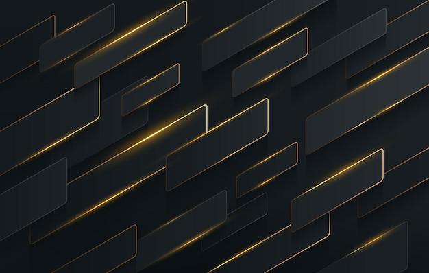 Abstracte diagonale strepen zwarte en gouden kleur dynamische overlappende achtergrond