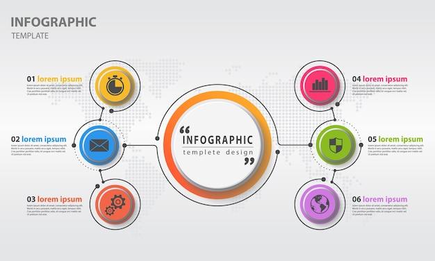 Abstracte diagram infographic sjabloon 6 opties