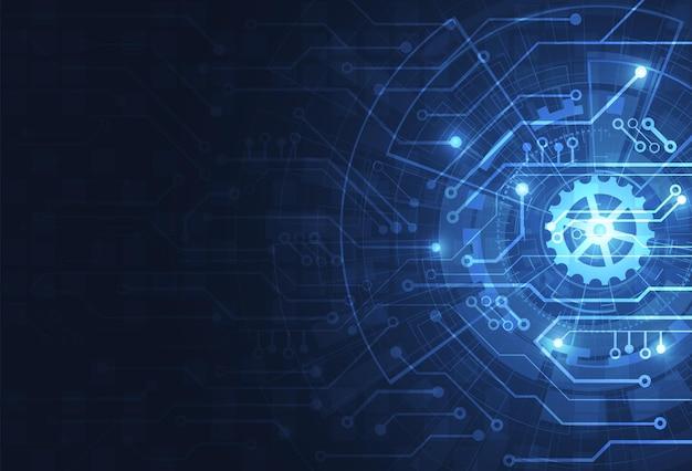Abstracte digitale achtergrond met technologie printplaat textuur. elektronische moederbord illustratie. communicatie en engineering concept. vector illustratie