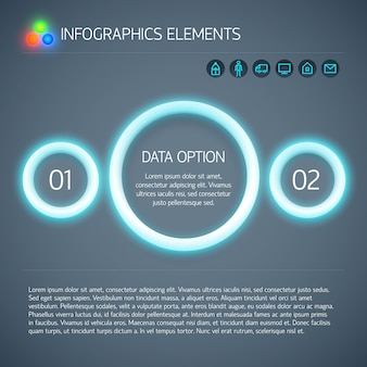 Abstracte digitale geometrische infographics met blauwe neon gloeiende cirkels twee opties tekst en pictogrammen geïsoleerde vector illustratie