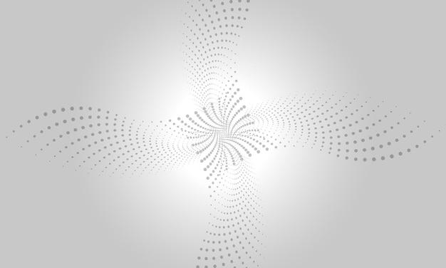 Abstracte digitale grijze en witte achtergrond met vloeiende deeltjes