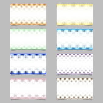 Abstracte digitale halftoon punt patroon visitekaartje achtergrond sjabloon ontwerp set - vector bedrijf illustraties met gekleurde cirkels