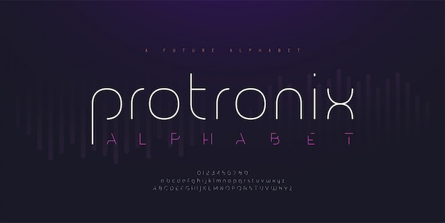Abstracte digitale moderne alfabetlettertypen. typografie technologie elektronisch toekomstig creatief lettertype en nummer.