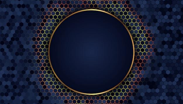 Abstracte donkerblauwe achtergrond met gouden lijnen en punten