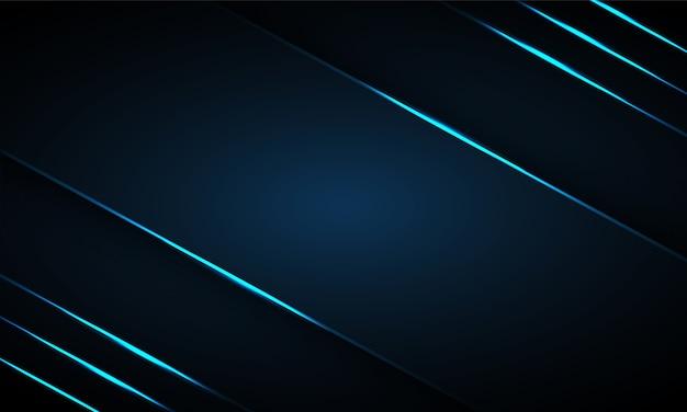 Abstracte donkerblauwe achtergrond met lichtblauwe neonlichtlijnen op lege ruimte.