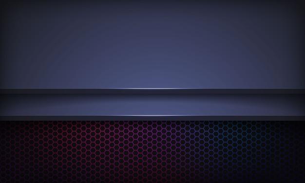 Abstracte donkerblauwe achtergrond met overlappende lagen. textuur met kleurrijk zeshoekpatroon.