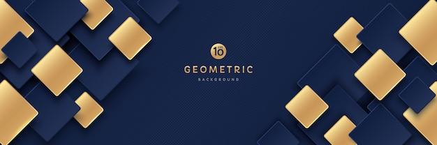Abstracte donkerblauwe en gouden kleur geometrische vierkante overlap patroon op donkere achtergrond met schaduw Premium Vector