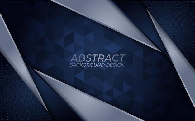 Abstracte donkerblauwe en lijn zilveren achtergrond met overlappende laagsjabloon
