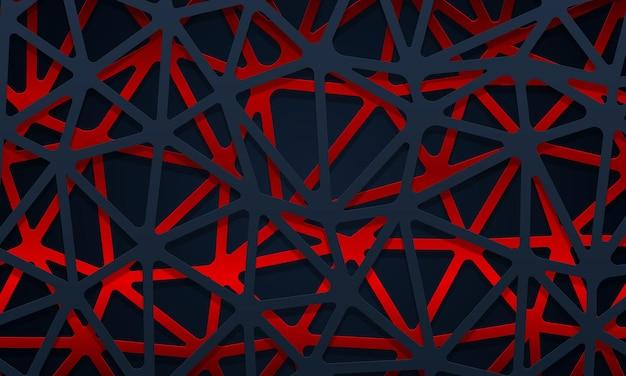 Abstracte donkerblauwe en rode geometrische lijnen overlappende laagachtergrond