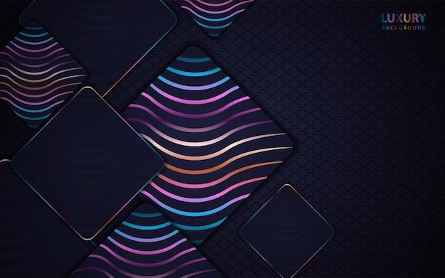 Abstracte donkerblauwe papier overlappen achtergrond met kleurrijke lijn