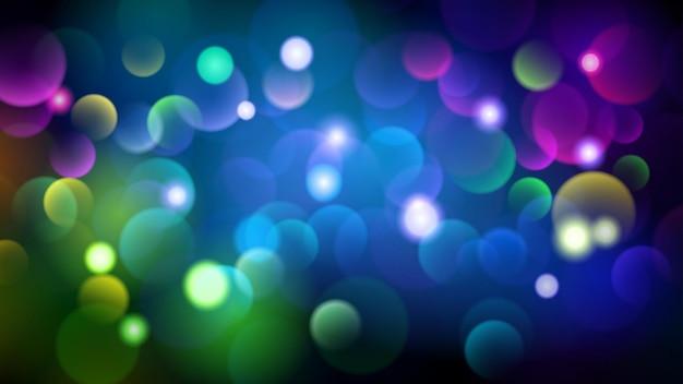 Abstracte donkere achtergrond met bokeh-effecten in verschillende kleuren
